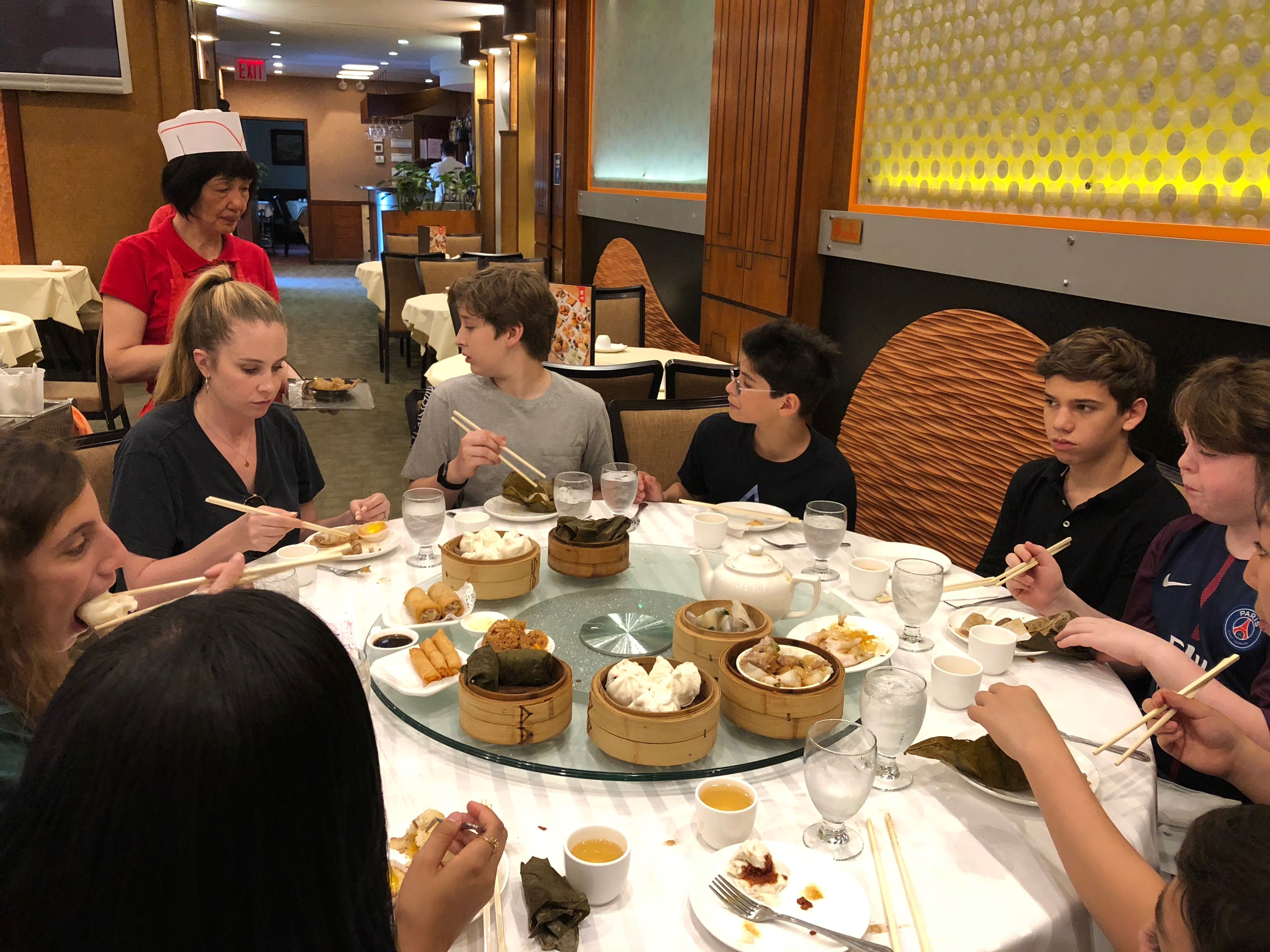 Everyone digs in to their dim sum
