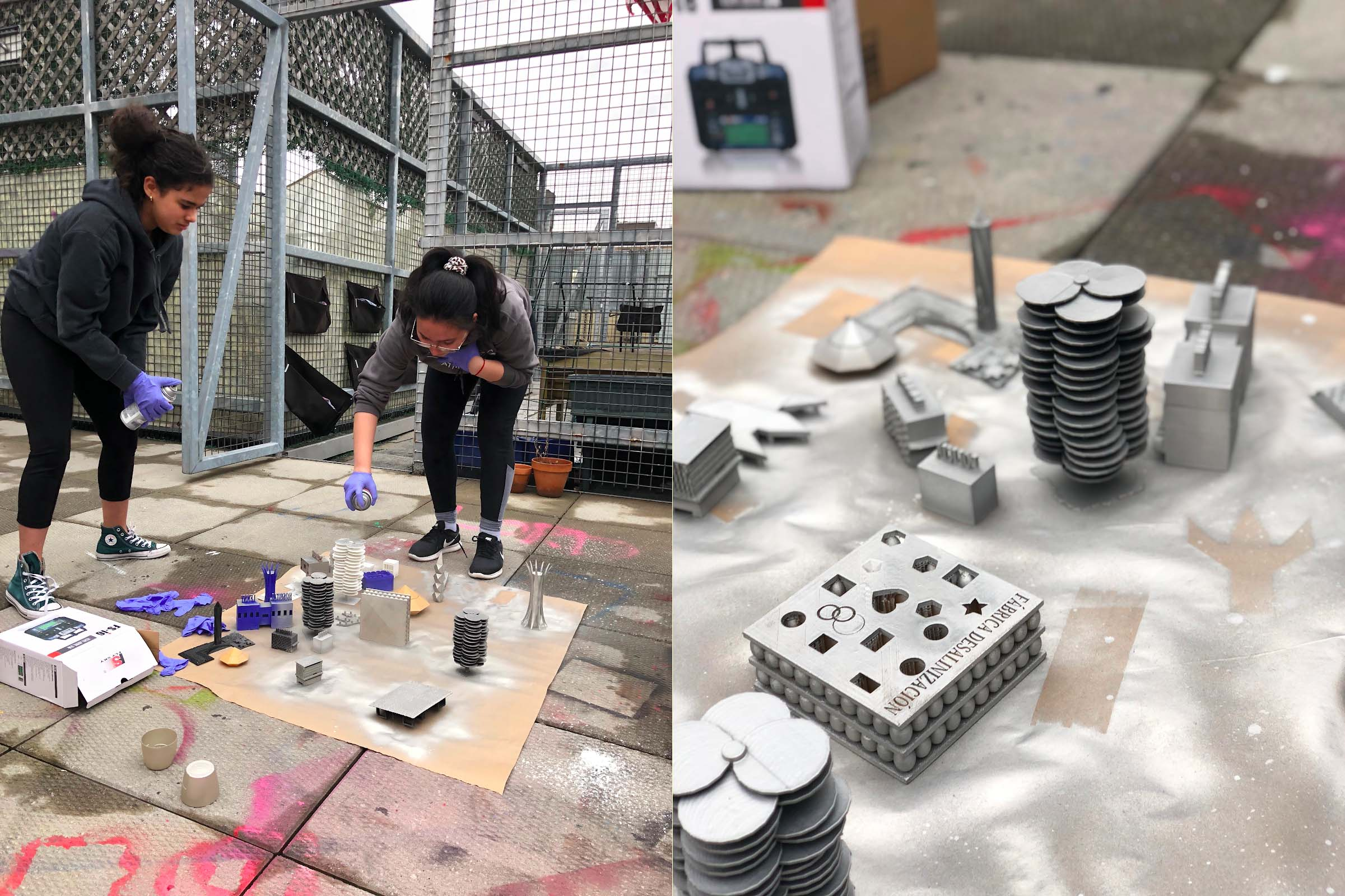 Spray-painting the 3-D buildings.