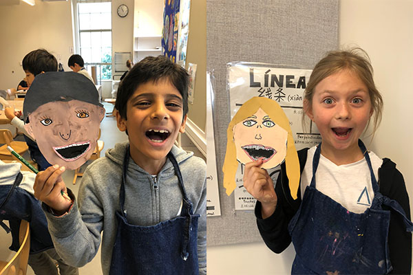 "Students in Grades 2-5 Create ""Laughing Self-Portraits"" as Community Building First Project of the Year"